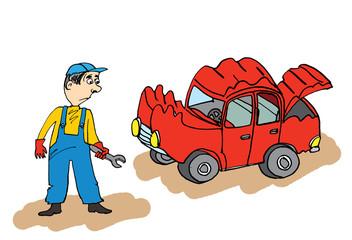 Cartoon auto mechanic with broken car.