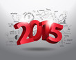 New year 2015 three dimensional on creative drawing business