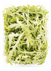 rucola salad in transparent case