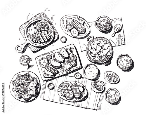 Canvas Buffet, Bar Mexican food illustration