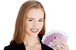 Business woman holding money- euro currency.