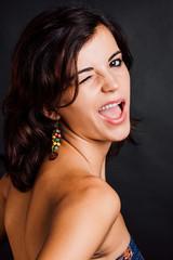 Woman winking