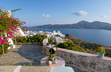 Balcony with a view, Plaka village, Milos island, Greece