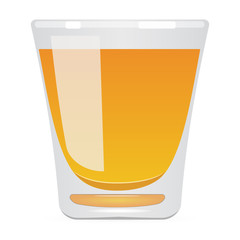 The glass with yellow liquid. Raster