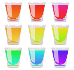 Glasses of fluid a different color. Raster