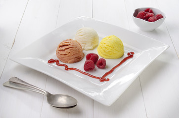 ice cream with raspberries on a plate