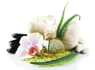 Spa treatments with orchid flower isolated on white