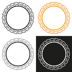 Collection of 4 isolated greek stylized frames