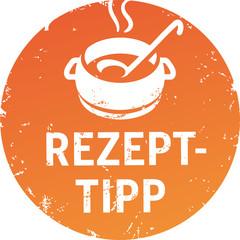 Button RezeptTipp Orange mit Topf