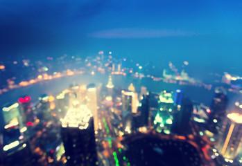 bokeh of skyline at sunset time, Shanghai, China