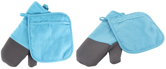 blue kitchen gloves. isolated on whit background.