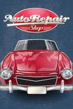 Auto repair shop retro poster.