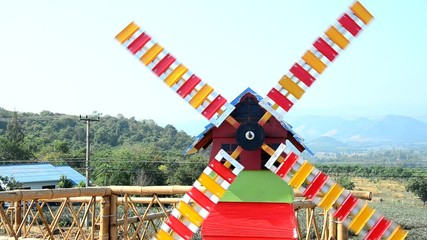 Pinwheel or windmill on Viewpoint in winter season at Ban Kha