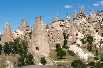 view of Uchisar castle in Cappadocia , Turkey
