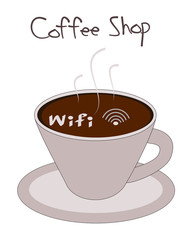 Wifi symbol in coffee cup