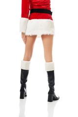 Female slim legs in santa boots