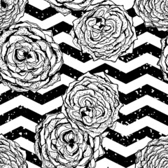 chevron seamless hand drawn pattern background with flowers.