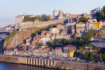 Multicolored houses on river bank of Duoro in Porto, Portugal