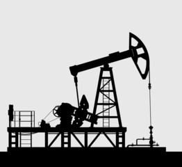 Oil pump silhouette over grey background.