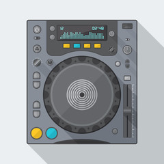 vector colored flat design dj cd turntable with shadows.