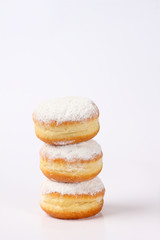 doughnut tower on white background