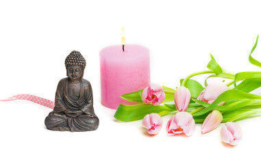 Buddha, Tulpen, Kerze, Zen