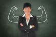 canvas print picture - Businesswoman with Muscle / Strong / Power