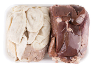 pork offal. isolated on white background with clipping path
