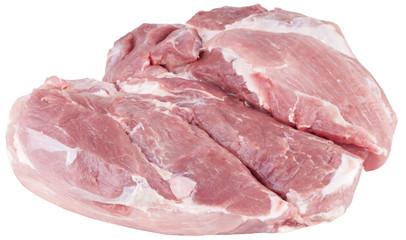 boneless pork shoulder. isolated on white background.
