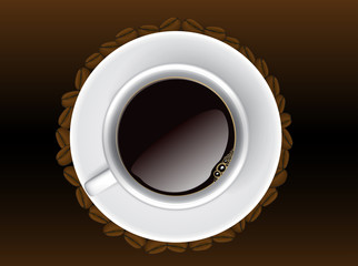 Coffee cup, top view on brown background