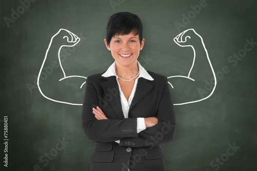 canvas print picture Businesswoman with Muscle / Strong / Power