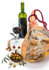 Ham, olives, wine and nuts