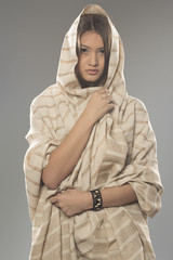 Asian woman in wearing old style cloths