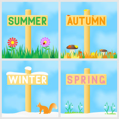 A set of signs with the names of the seasons.