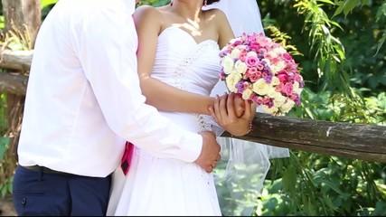 wedding couple hugging