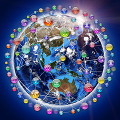 Earth, surrounded by sphere, composed of icons