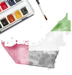 Watercolor painting of United Arab Emirates in the national colo