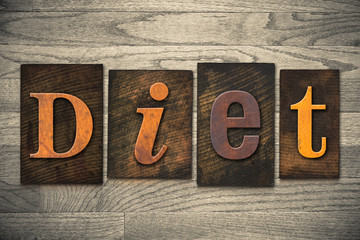 Diet Concept Wooden Letterpress Type