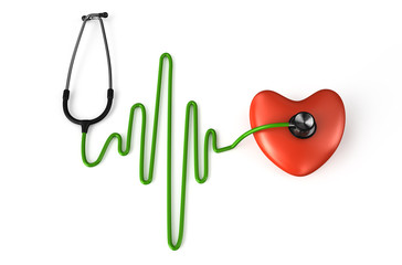 Stethoscope, heart and ECG