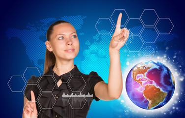 Beautiful woman in dress pointing on two blank icon cells, out