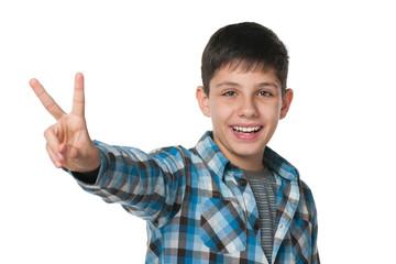 Teen boy celebrates victory