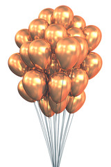 Golden Balloons. Clipping path included.