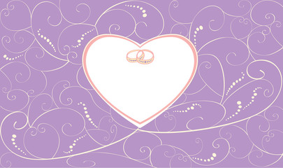 Violet wedding card with rings