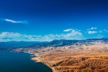 Beautiful mountain landscape with a sea view. Crimea, Sudak
