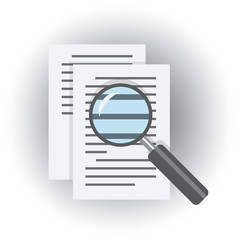 magnifier glass over document