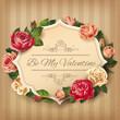 Obrazy na płótnie, fototapety, zdjęcia, fotoobrazy drukowane : Vintage Valentine card with roses. Vector