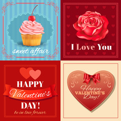 Valentine's Day cards with heart ,rose and cupcake.Vector