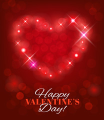 Valentine's Day background with heart shape and sparks. Vector