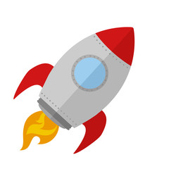 Rocket Ship Start Up Concept.Flat Style Isolated On White