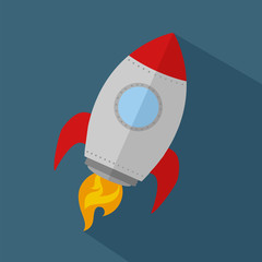 Rocket Ship Start Up Icon.Flat Style